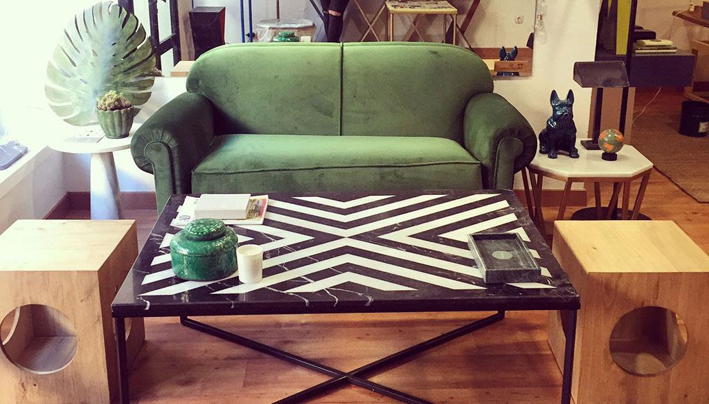 sofa verde muebles diseño