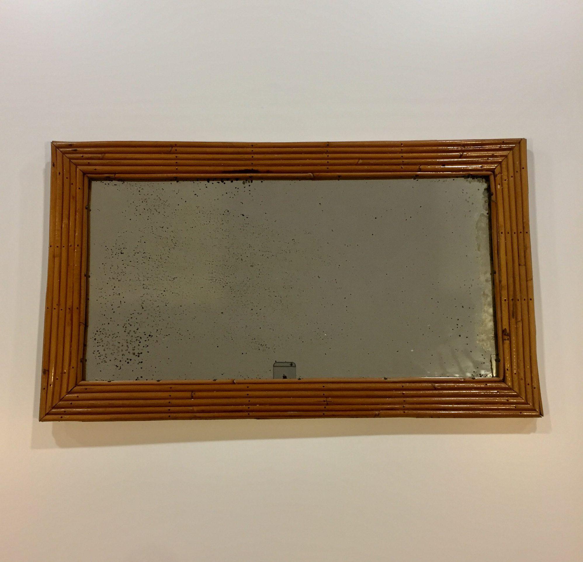 Espejo con marco de mimbre a os 70 original - Espejos de mimbre ...