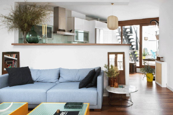 espacio abierto muebles diseño